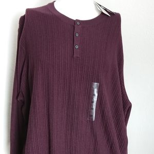 New mens 3X maroon sweater 3 button